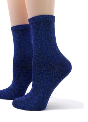 Синие блестящие носки с люрексом, женские носочки