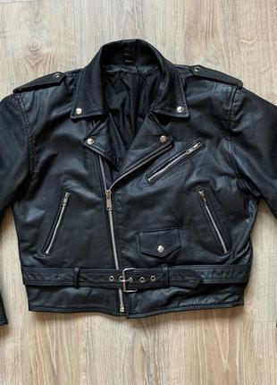 Мужская кожаная куртка косуха байкерская