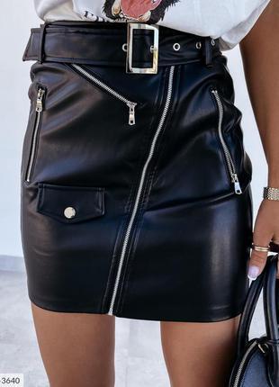 Женская короткая юбка из эко кожи