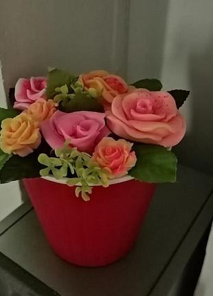 Цветочные букеты из мыла