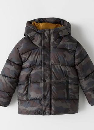 Деми еврозима куртка для мальчика военного цвета, хаки от zara