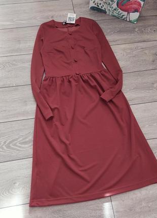 Шикарное платье миди терракотового цвета