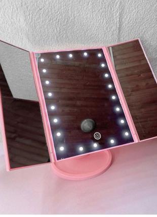 LED дзеркало, зеркало, дзеркало із підсвічуванням. Рожеве дзеркал