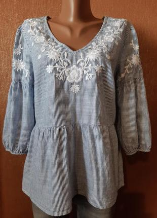 Блузка в полоску с вышивкой размер 12-14 tu