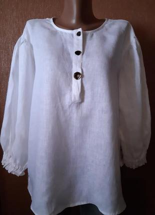 Блузка льняная 100% лён свободный стиль размер 14-16 zara