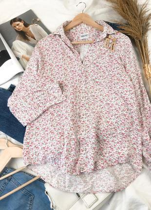 Свободная рубашка оверсайзв в цветочный принт