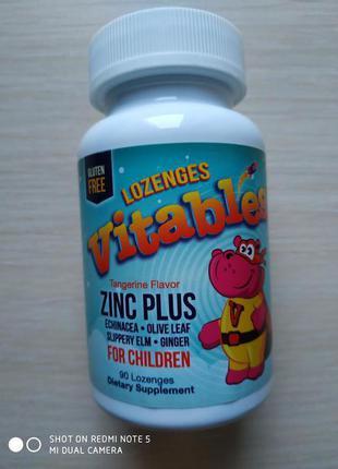 Zinc Plus, добавка с цинком для детей, мандариновый вкус, 90 шт