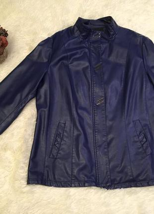 Куртка синяя кожзам р. 54-56