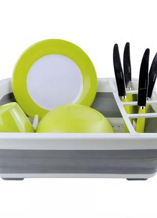 Сушилка Сушка для посуды силиконовая складная  серо-белая