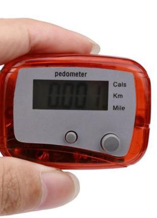 Шагомер педометр счетчик шагов крокомір красный