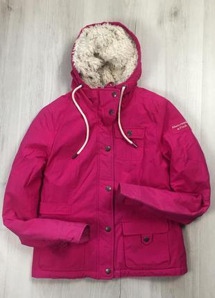 N8 f9 женская куртка abercrombie&fitch розовая зимняя с мехом