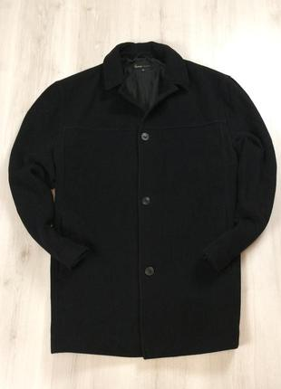 F9 пальто george черное 63%wool шерстяное шерсть овечья мужское