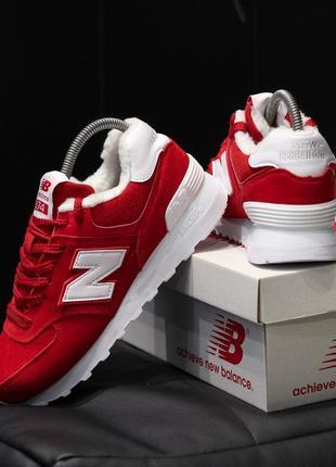 💎new balance 574 red😍женские зимние красные кроссовки нью беленс