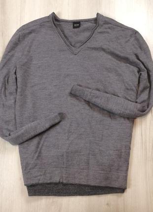 F7 шерстяной пуловер hugo boss хуго босс хьюго серый