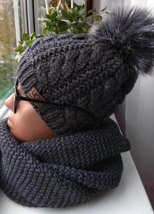 Новый комплект: шапка (полный флис) и хомут восьмерка,темно-серый