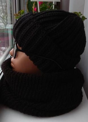 Новый комплект: шапка с подворотом и хомут восьмерка, черный