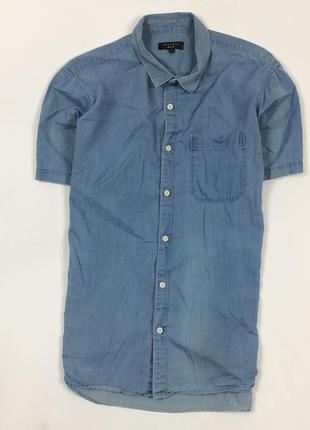 Z6 рубашка джинсовая new look нью лук синяя голубая шведка тен...