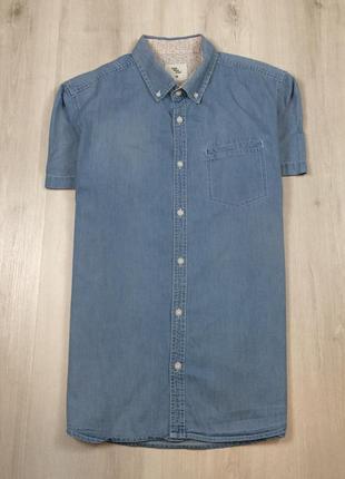 Z6 джинсовая приталенная рубашка cws голубая синяя шведка тенн...