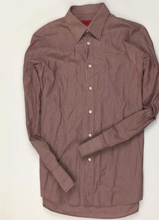 Z7 рубашка hugo boss хуго босс хьюго босс полосатая бордовая