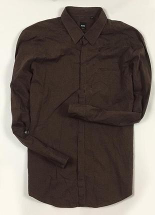 Z7 рубашка hugo boss  хуго босс хьюго бос коричневая полосатая...