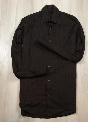 Z7 чёрная полосатая приталенная рубашка hugo boss хуго босс хь...