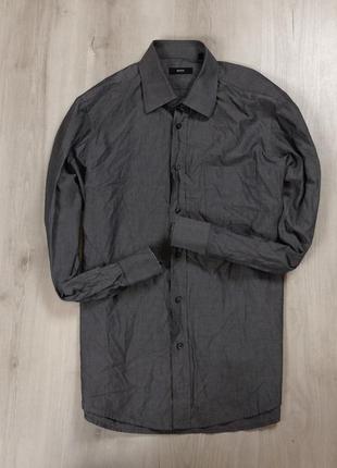Z7 приталенная рубашка hugo boss хуго хьюго босс бос серая