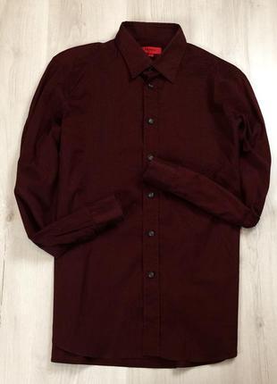 Z7 приталенная рубашка hugo boss хуго босс хьюго бос бордовая