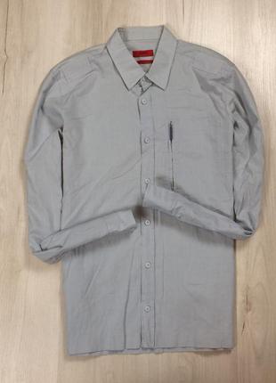 Z7 приталенная рубашка hugo boss хуго бос хьюго босс серая