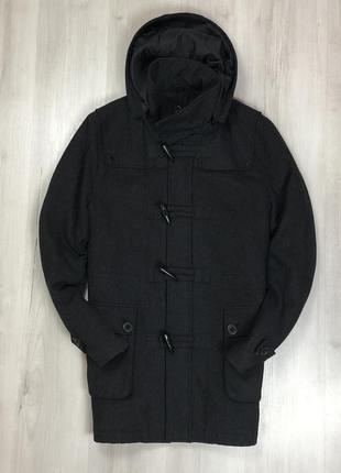 F9 пальто полушерстяное темно-серое urban spirit с капюшоном