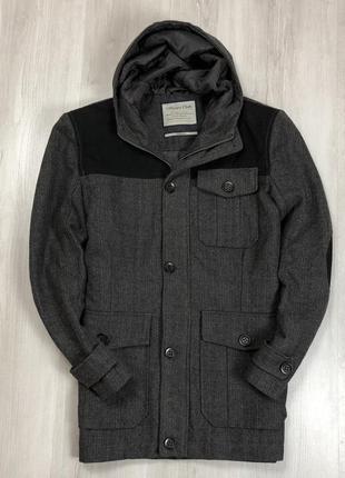 F9 пальто серое клетчатое с капюшоном officers club полушерстя...