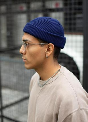 F6 трендовая шапка синяя унисекс бини средней вязки