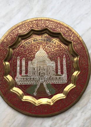 Тарелка сувенирная металлическая Индия, Тадж-Махал, 15 см