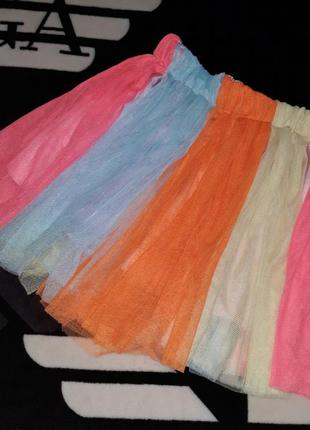 Пачка юбка подъюбник из фатина радуга бабочка