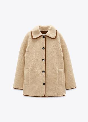 Пальто зі штучної овчини zara