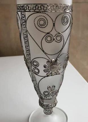 Бокал из матового стекла в ажурной оплетке из серебра