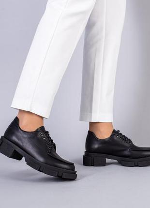 Туфли броги кожаные черные +video ***акция до 31.05