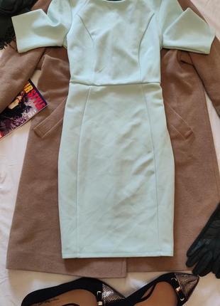 Салатовое мятное ментоловое платье миди футляр карандаш doroth...
