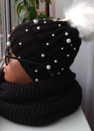 Новый комплект: шапка с бусинами(полный флис) и хомут-восьмерк...