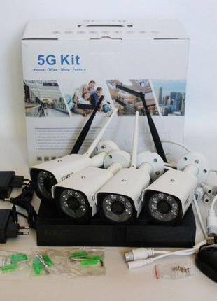 Комплект для видеонаблюдения WiFi Регистратор 4 камеры DVR 5G ...