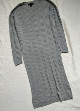 Прямое вязаное серое платье сукня миди atmosphere