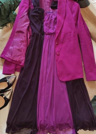 Платье и пиджак фиолетовое розовое фуксия большое батальное