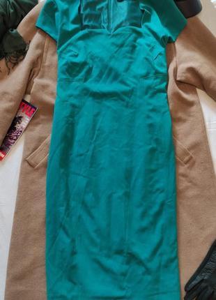 Бирюзовое салатовое платье на подкладке футляр карандаш большое