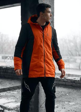 Парка куртка мужская черно оранжевая пушка огонь
