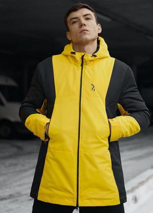 Куртка парка демисезонная черно желтая пушка огонь