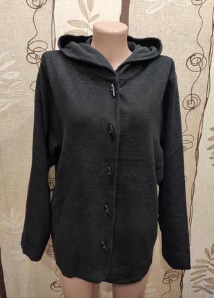 Чёрный флисовый кардиган, кофта с капюшоном