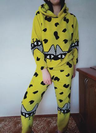 Женская теплая желтая пижама кофта штаны