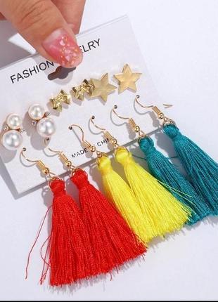 Комплект женских сережек (6 пар) / серьги набор кисточки + гво...