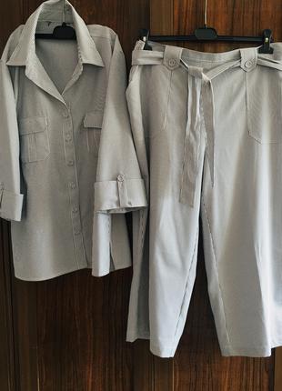 Женский классный костюм с укорочёнными брюками 54-56 раз