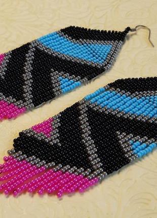 Серьги из бисера розово-голубые