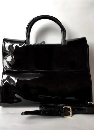 "Женская кожаная сумка ""glossy"" черная (лаковая)"
